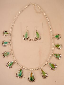 Navajo Thomas Francisco Royston Turquoise and Sterling Silver Necklace and Earring Set