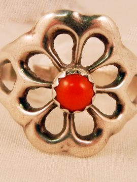 Navajo Coral and Sterling Silver Rosette Ring