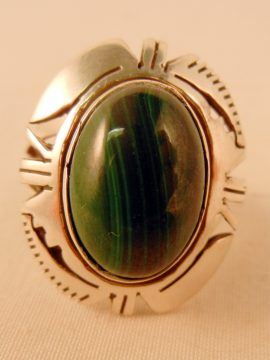 Navajo Eddie Secatero Malachite and Sterling Silver Ring