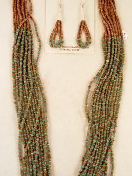 Santo Domingo Josephine Coriz Turquoise and Olive Shell Heishi Necklace and Earring Set