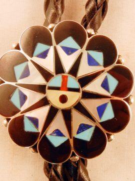 Zuni Delwin Gasper Multi-Stone Inlay and Sterling Silver Sunface Bolo Tie