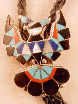 Zuni Delwin Gasper Multi-Stone Inlay and Sterling Silver Thunderbird Bolo Tie