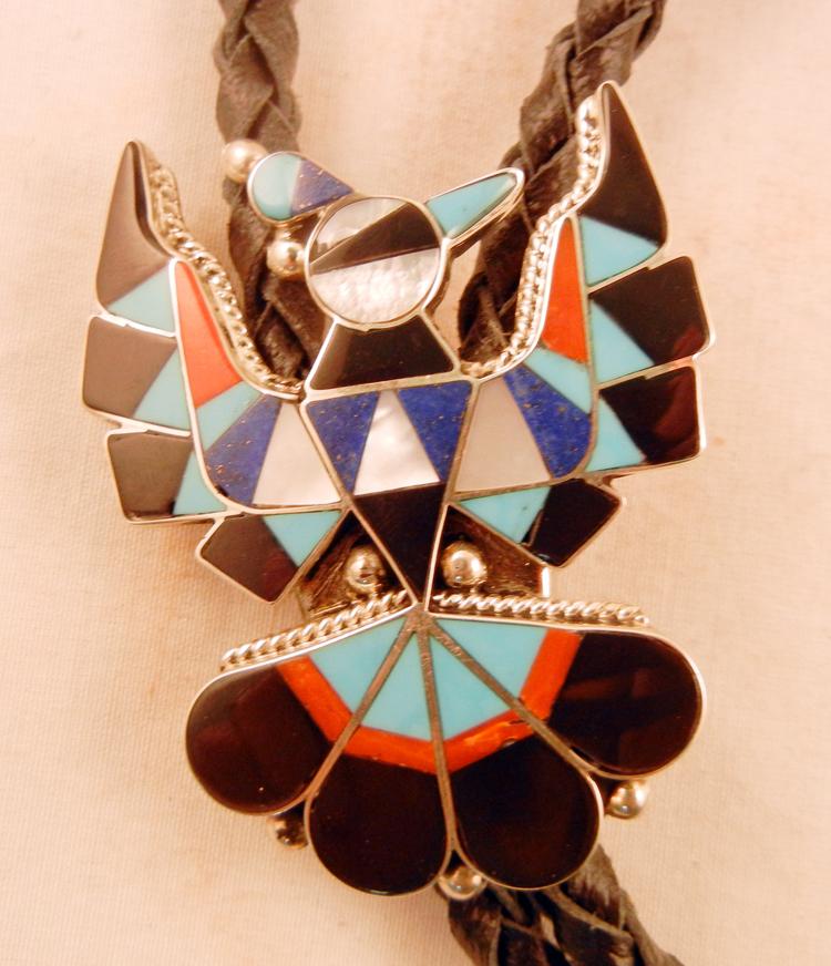 native-american-indian-jewelry-zuni-bolo-tie-multi-stone-inlay-sterling-silver-thunderbird (2)