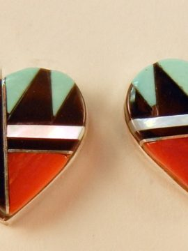 Zuni Multi-Stone Inlay and Sterling Silver Heart Earrings