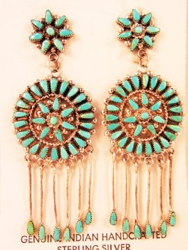Zuni Sleeping Beauty Turquoise and Sterling Silver Dangle Earrings