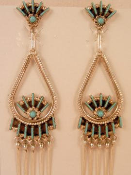 Zuni Darren Kaamasee Turquoise Needlepoint and Sterling Silver Dangle Earrings