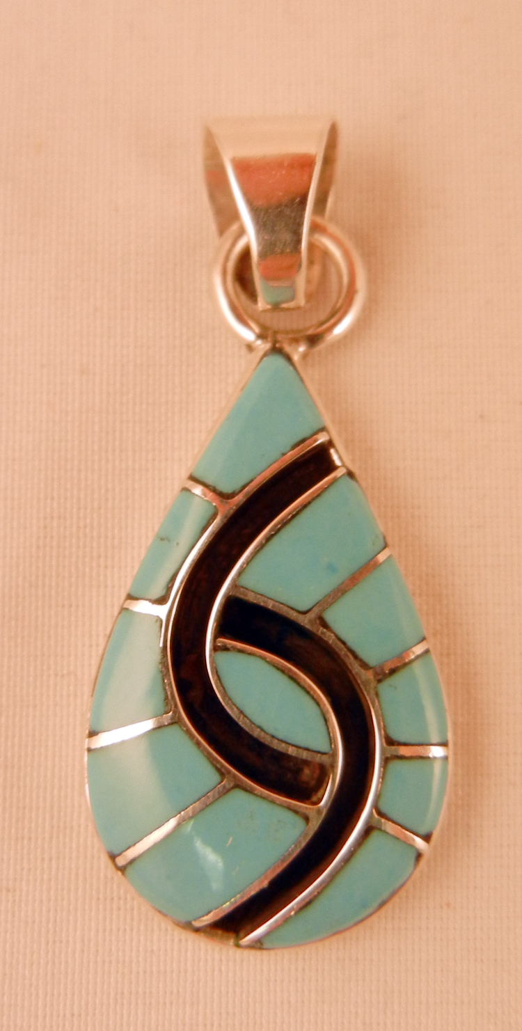 Zuni Amy Quandelacy Turquoise and Sterling Silver Inlay Hummingbird Pattern Pendant