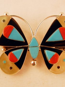 Zuni Leavas Ahiyite Multi-Stone Inlay Butterfly Pin/Pendant