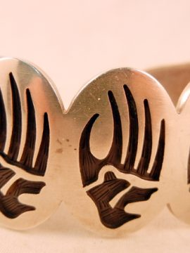 Hopi Harold Lomayakteeva Sterling Silver Overlay Bear Paw Cuff Bracelet