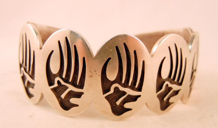 native-american-indian-jewelry-hopi-bracelet-sterling-silver-overlay-bear-paw-cuff (1)