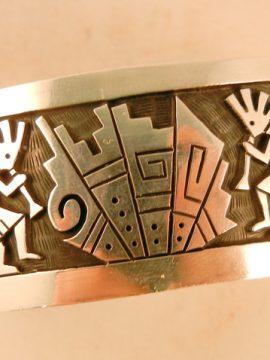 Hopi Delfred Masawytewa Sterling Silver Overlay Kokopelli Cuff Bracelet