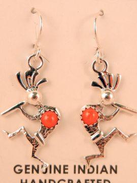 Navajo Sterling Silver and Coral Kokopelli Earrings