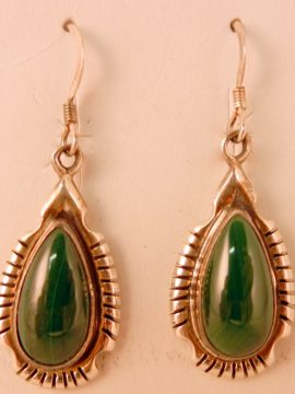 Navajo Small Malachite and Sterling Silver Earrings