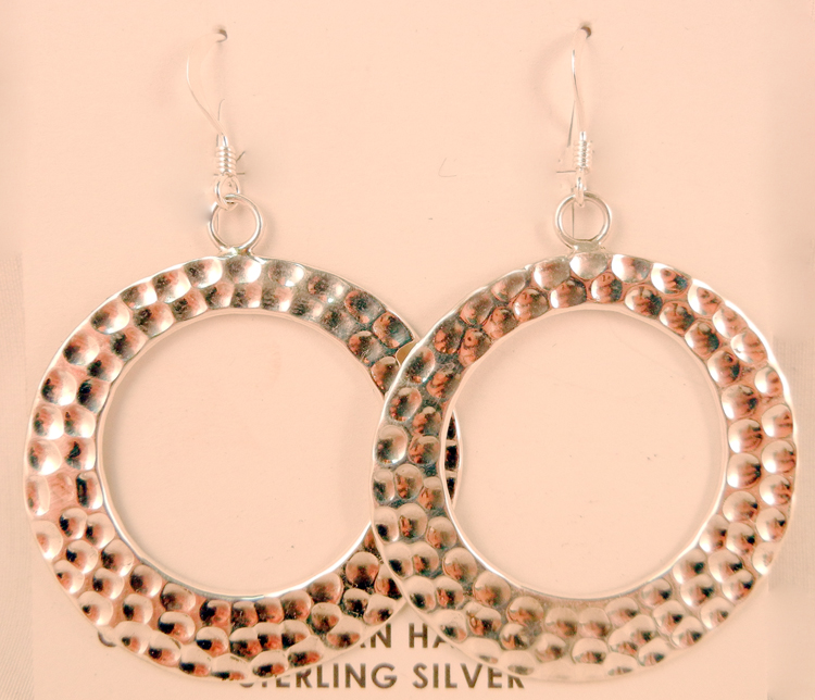 Navajo Pauline Nelson Hammered Sterling Silver Circle Dangles