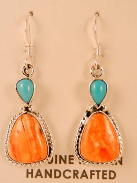 Navajo Orange Spiny Oyster and Turquoise Dangle Earrings