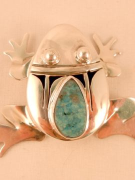 Navajo Bennie Ration Sterling Silver Shadowbox Frog Pendant