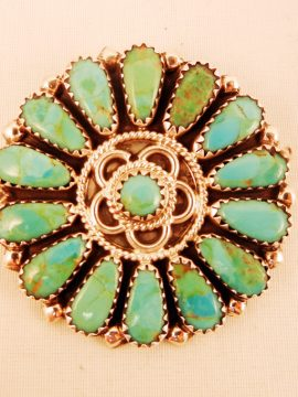 Navajo Zeita Begay Turquoise and Sterling Silver Cluster Pin/Pendant