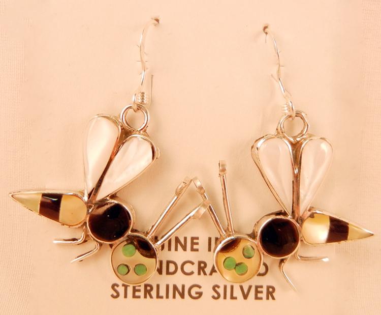 native-american-indian-jewelry-zuni-earrings-multi-stone-inlay-bees