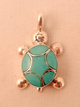 Zuni Turquoise and Sterling Silver Inlay Turtle Pendant