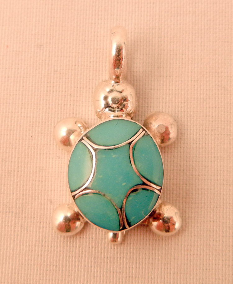 native-american-indian-jewelry-zuni-pendant-sterling-silver-turquoise-inlay-turtle