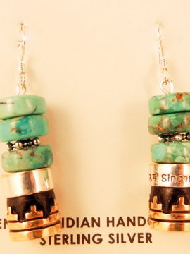 Navajo Rosita Singer Turquoise, Sterling Silver and Gold Fill Overlay Earrings