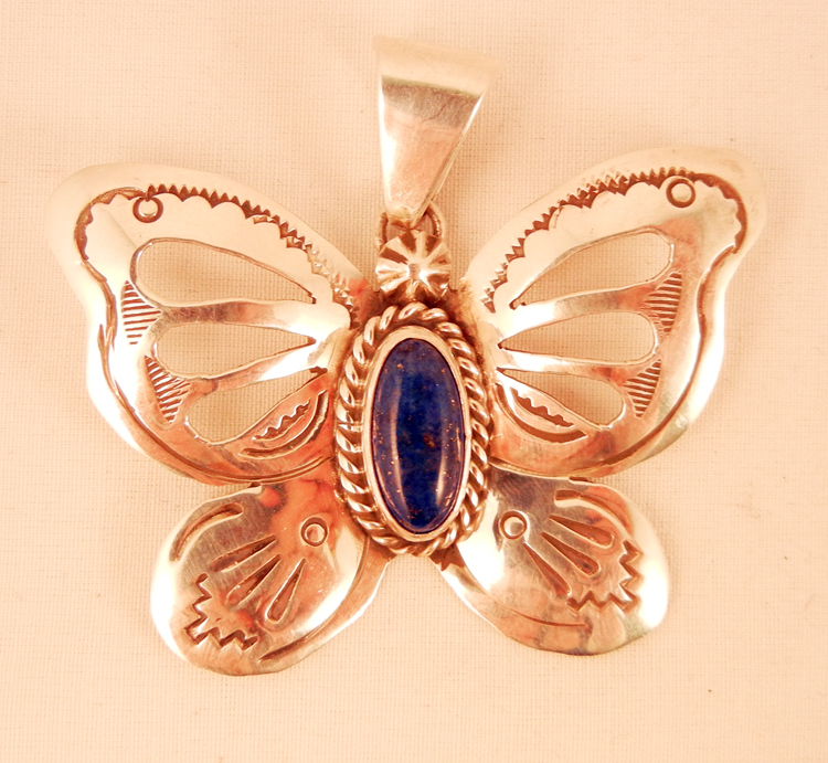 Navajo Sterling Silver and Lapis Butterfly Pendant