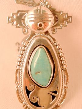 Navajo Bennie Ration Turquoise and Sterling Silver Shadowbox Maiden Ring