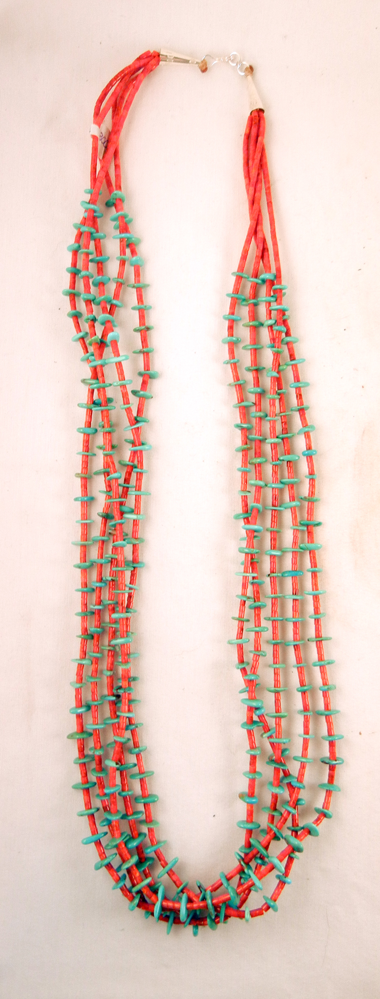 Santo Domingo Jeanette Calabaza 5 Strand Coral Heishi and Turquoise Nugget Necklace