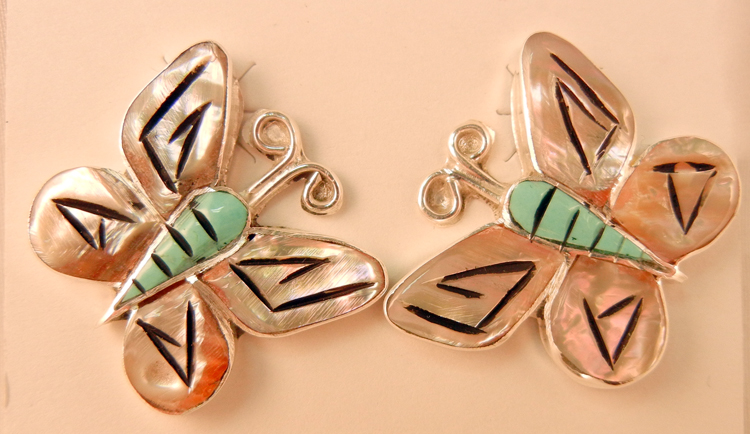 Zuni Valerie Comosona Multi-Stone Inlay and Etched Butterfly Earrings