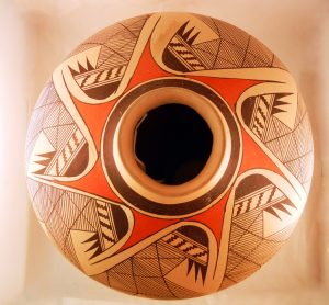 Large Hopi Jar featuring a migration pattern by Clinton Polacca