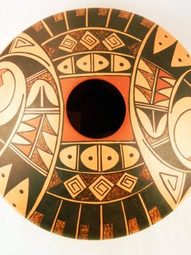 Hopi Dee Setalla Painted and Polished Large Flat Seedpot