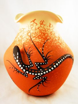 Zuni Deldrick Cellicion Lizard Jar with Fluted Rim