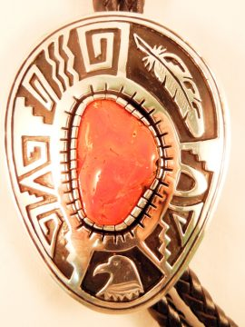Navajo Coral and Sterling Silver Overlay Bolo Tie