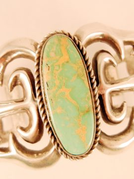 Navajo Eugene Mitchell Sandcast Sterling Silver and Turquoise Cuff Bracelet