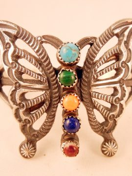 Navajo Linberg and Eva Billah Sandcast Sterling Silver and Mutli-Stone Butterfly Cuff Bracelet