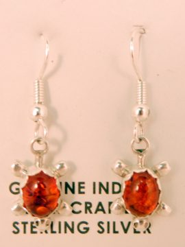 Navajo Small Amber and Sterling Silver Turtle Earrings