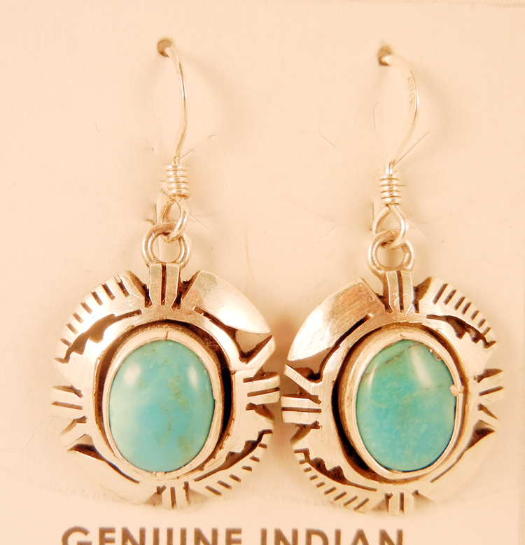 Navajo Eddie Secatero Turquoise and Sterling Silver Earrings
