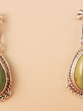 Navajo Sharon McCarthy Green Turquoise and Sterling Silver Tear Drop Earrings