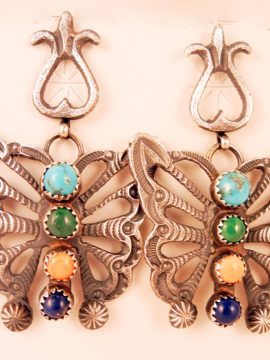 Navajo Linberg and Eva Billah Sandcast Sterling Silver and Multi-Stone Butterfly Earrings