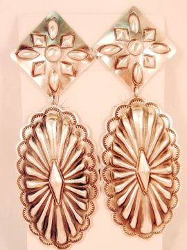 Navajo Rita Lee Brushed and Repoussed Large Sterling Silver Dangle Earrings