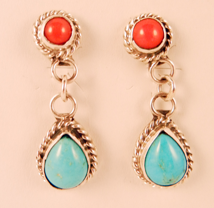 Navajo Small Turquoise and Coral Dangle Earrings