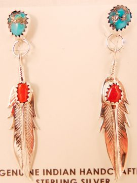 Navajo Turquoise, Coral, and Sterling Silver Feather Earrings