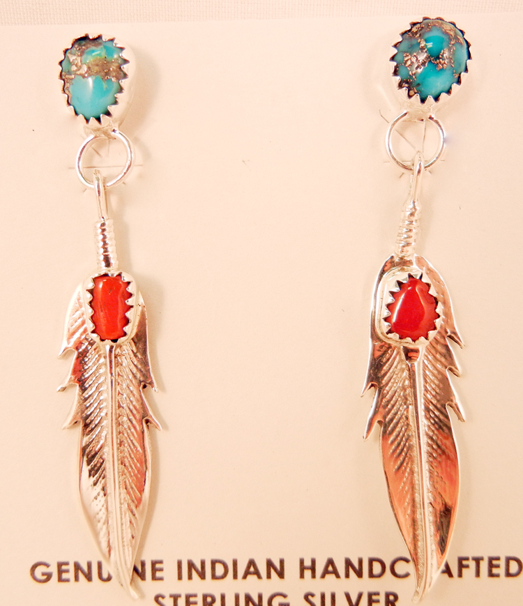 native-american-indian-jewelry-navajo-earrings-turquoise-coral-sterling-silver-feather