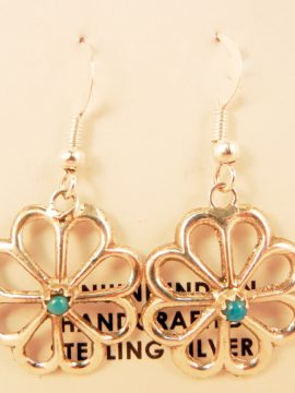 Navajo Sterling Silver and Turquoise Flower Pattern Earrings