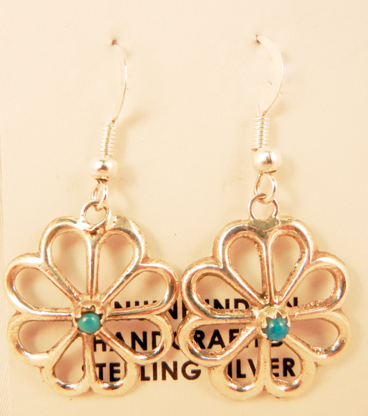 native-american-indian-jewelry-navajo-earrings-turquoise-sterling-silver-rosettes
