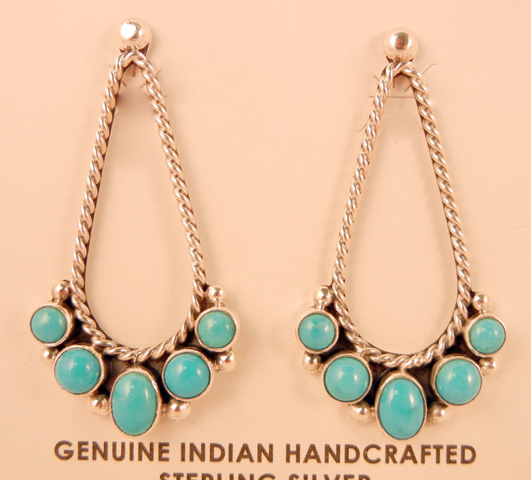 native-american-indian-jewelry-navajo-earrings-turquoise-sterling-silver-tear-drops