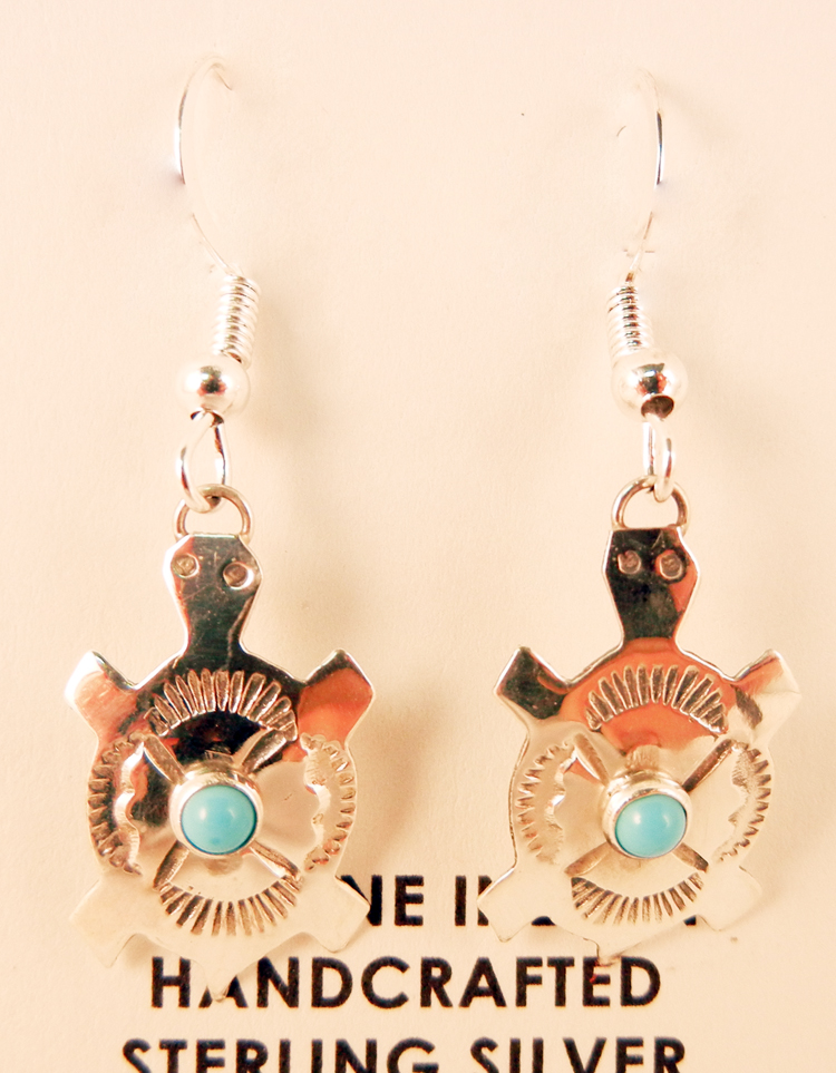 Navajo Lucille Platero Turquoise and Sterling Silver Turtle Earrings