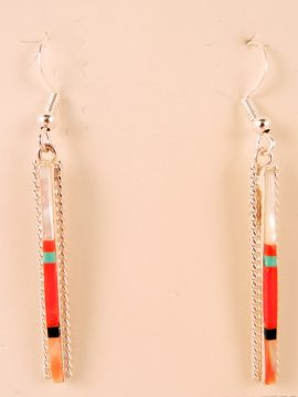 Navajo Fred Barney Multi-Stone Inlay and Sterling Silver Earrings