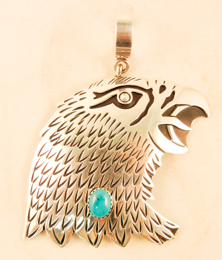 Navajo Rosita Singer Sterling Silver Overlay and Turquoise Eagle Pendant