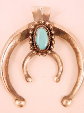 Navajo James Martin Sandcast Sterling Silver and Turquoise Naja Pendant